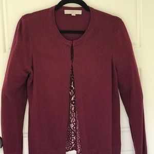 Loft Cardigan Lace Sweater Wine Color. Size M.